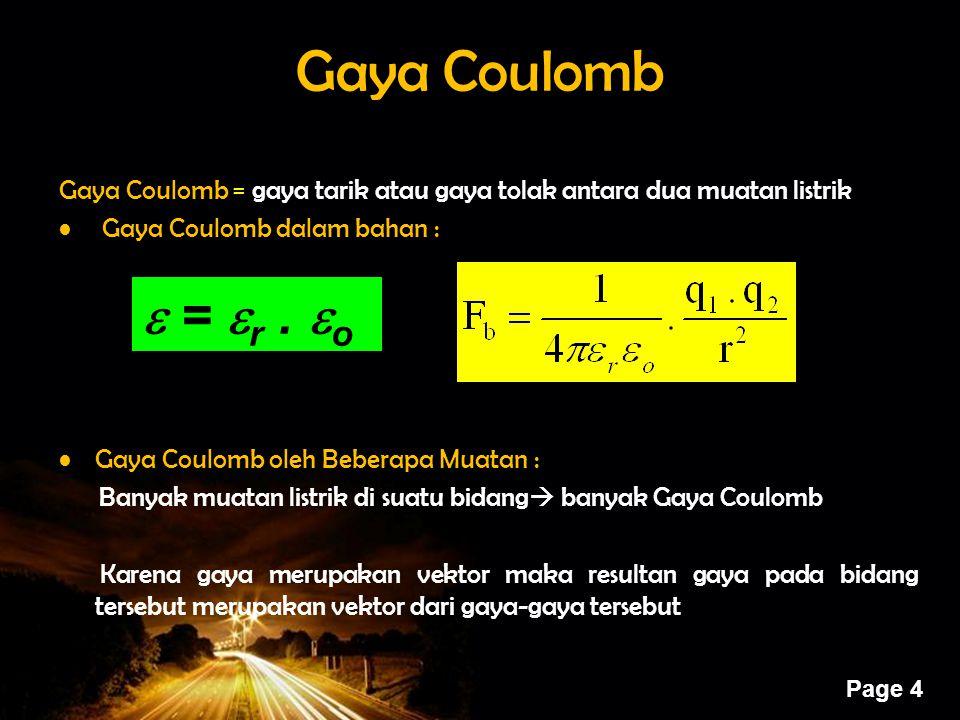 Gaya Coulomb Gaya Coulomb = gaya tarik atau gaya tolak antara dua muatan listrik. Gaya Coulomb dalam bahan :