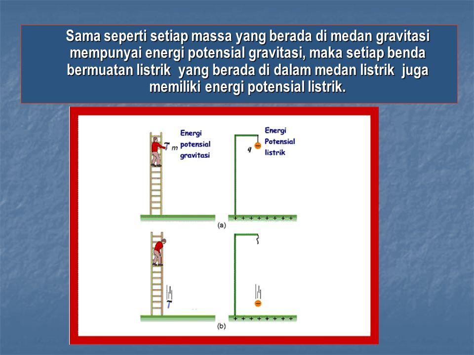 Sama seperti setiap massa yang berada di medan gravitasi mempunyai energi potensial gravitasi, maka setiap benda bermuatan listrik yang berada di dalam medan listrik juga memiliki energi potensial listrik.