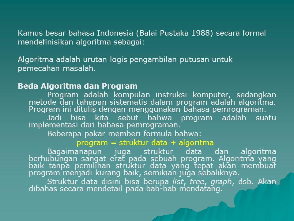 Kamus besar bahasa Indonesia (Balai Pustaka 1988) secara formal