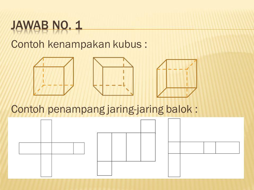 Jawab no. 1 Contoh kenampakan kubus : Contoh penampang jaring-jaring balok :