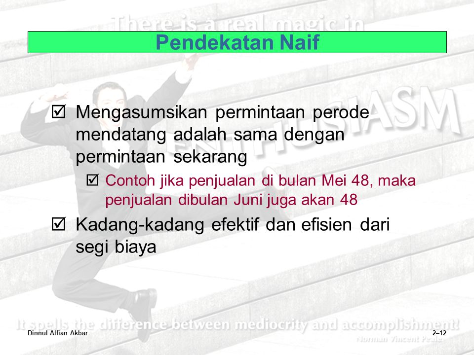 Pendekatan Naif Mengasumsikan permintaan perode mendatang adalah sama dengan permintaan sekarang.