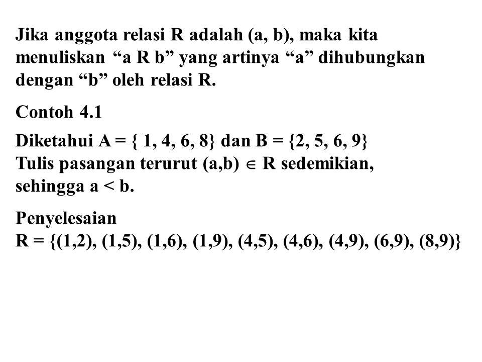 Jika anggota relasi R adalah (a, b), maka kita