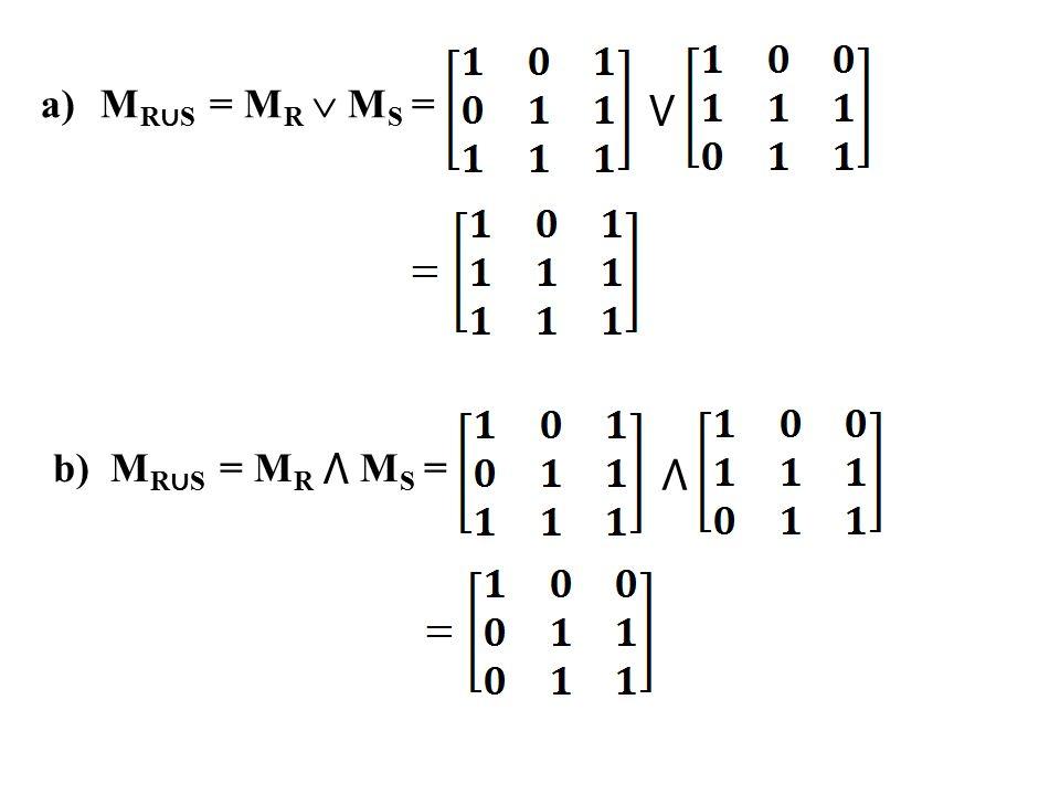 MR∪S = MR  MS = ⋁ b) MR∪S = MR ⋀ MS = ⋀