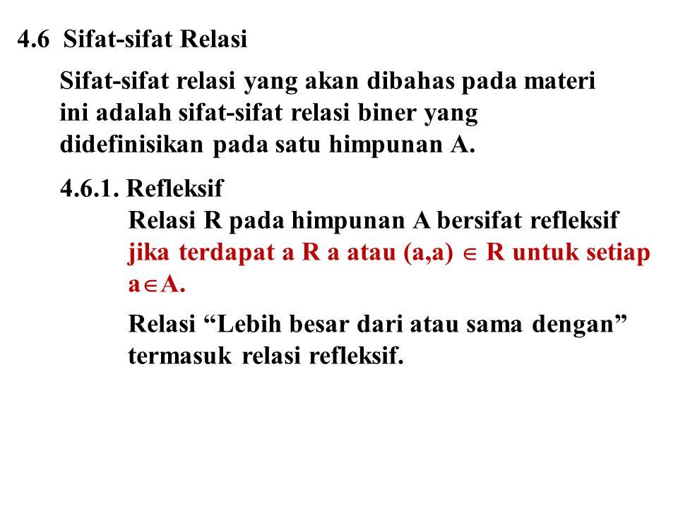4.6 Sifat-sifat Relasi Sifat-sifat relasi yang akan dibahas pada materi. ini adalah sifat-sifat relasi biner yang.