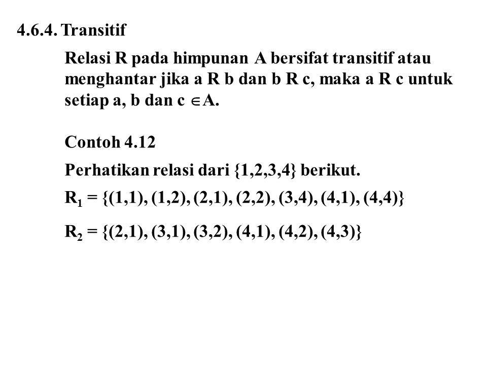 4.6.4. Transitif Relasi R pada himpunan A bersifat transitif atau. menghantar jika a R b dan b R c, maka a R c untuk.
