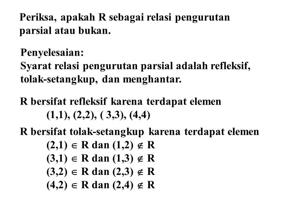Periksa, apakah R sebagai relasi pengurutan