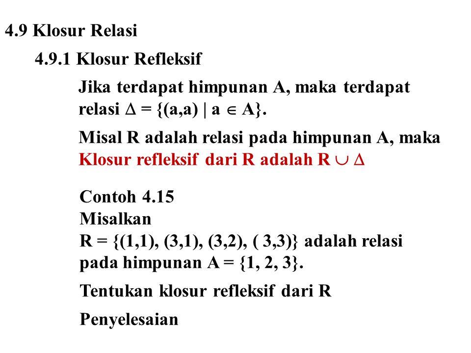 4.9 Klosur Relasi 4.9.1 Klosur Refleksif. Jika terdapat himpunan A, maka terdapat. relasi  = {(a,a) | a  A}.