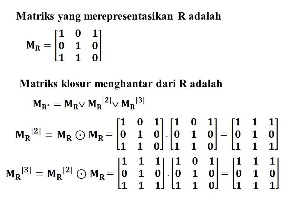 Matriks yang merepresentasikan R adalah