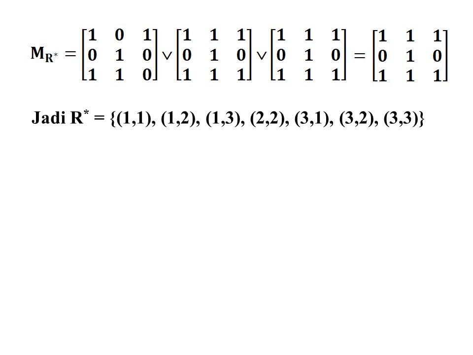 Jadi R* = {(1,1), (1,2), (1,3), (2,2), (3,1), (3,2), (3,3)}