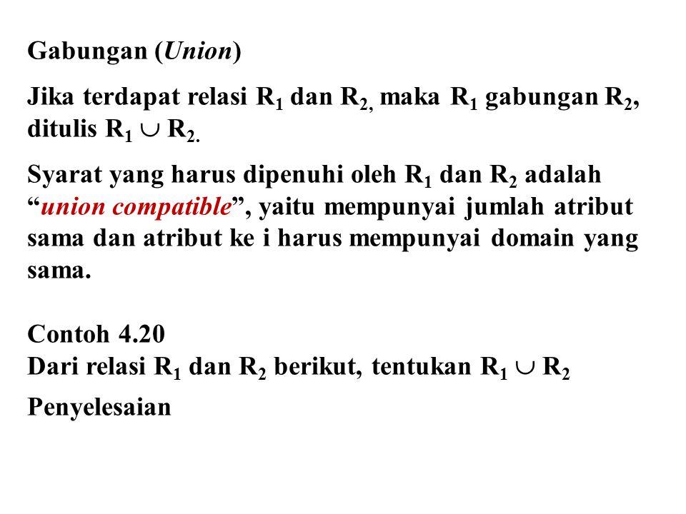 Gabungan (Union) Jika terdapat relasi R1 dan R2, maka R1 gabungan R2, ditulis R1  R2. Syarat yang harus dipenuhi oleh R1 dan R2 adalah.