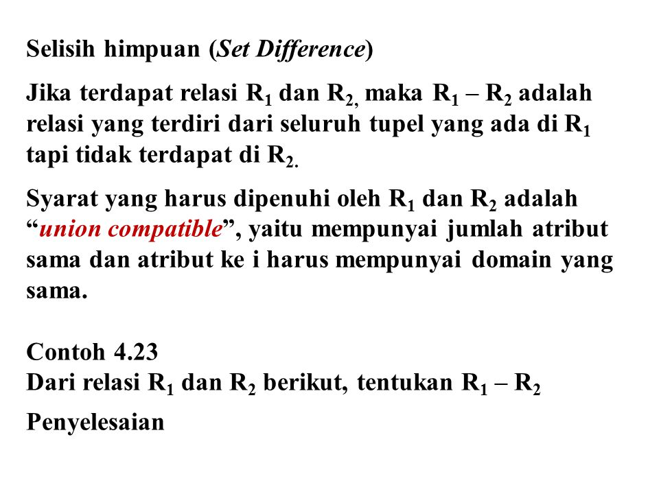 Selisih himpuan (Set Difference)