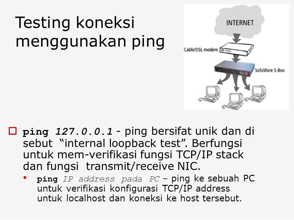 Testing koneksi menggunakan ping