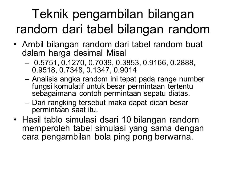 Teknik pengambilan bilangan random dari tabel bilangan random