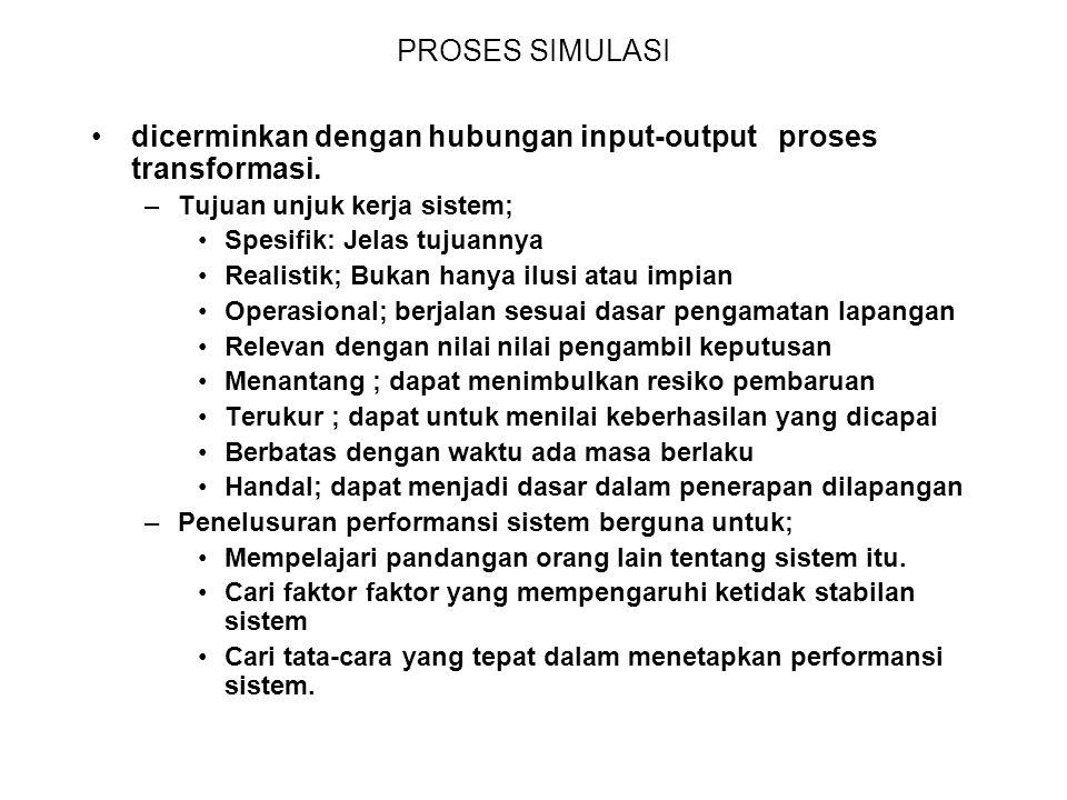 dicerminkan dengan hubungan input-output proses transformasi.