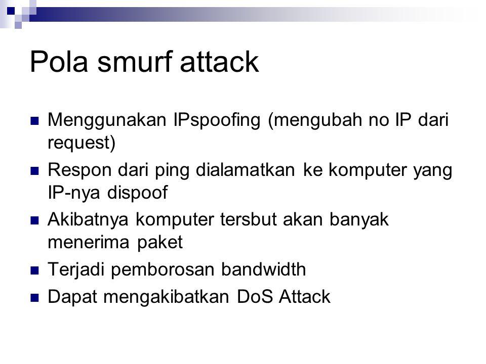 Pola smurf attack Menggunakan IPspoofing (mengubah no IP dari request)