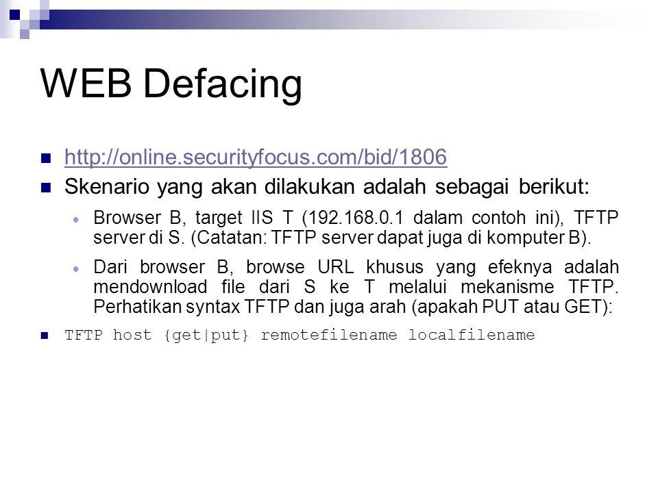 WEB Defacing http://online.securityfocus.com/bid/1806