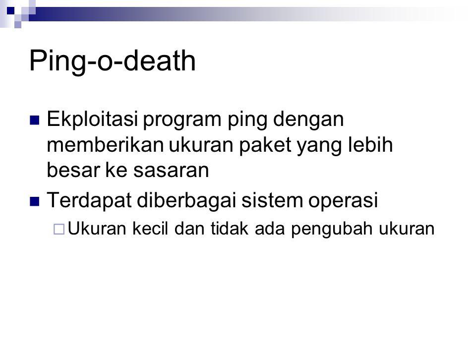 Ping-o-death Ekploitasi program ping dengan memberikan ukuran paket yang lebih besar ke sasaran. Terdapat diberbagai sistem operasi.
