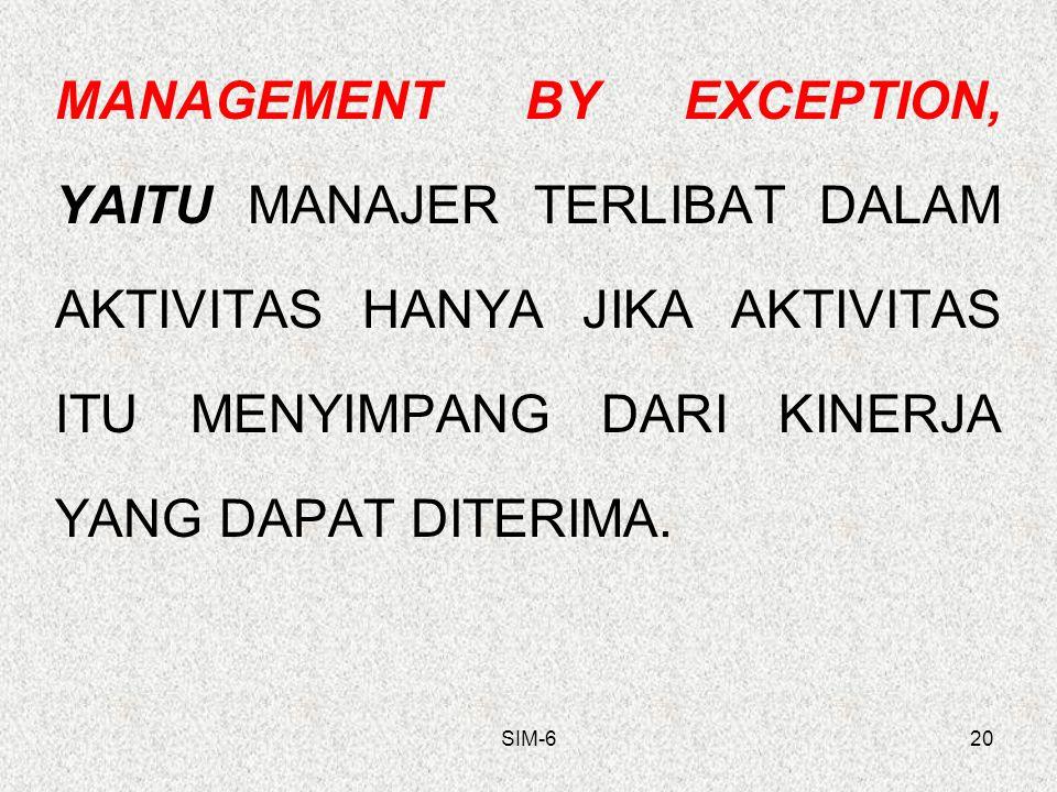 MANAGEMENT BY EXCEPTION, YAITU MANAJER TERLIBAT DALAM AKTIVITAS HANYA JIKA AKTIVITAS ITU MENYIMPANG DARI KINERJA YANG DAPAT DITERIMA.
