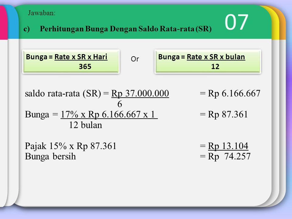 07 saldo rata-rata (SR) = Rp 37.000.000 = Rp 6.166.667 6