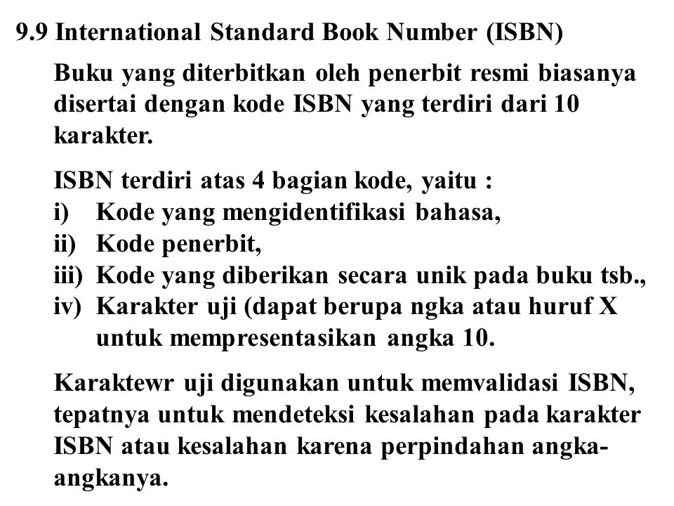 9.9 International Standard Book Number (ISBN)