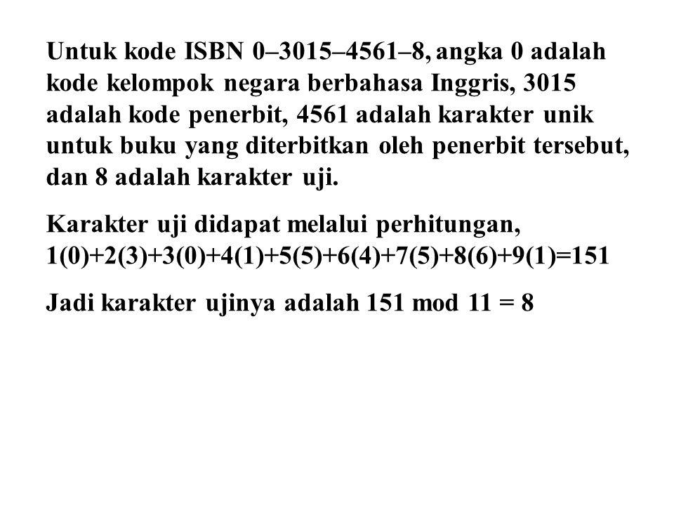 Untuk kode ISBN 0–3015–4561–8, angka 0 adalah kode kelompok negara berbahasa Inggris, 3015 adalah kode penerbit, 4561 adalah karakter unik untuk buku yang diterbitkan oleh penerbit tersebut, dan 8 adalah karakter uji.
