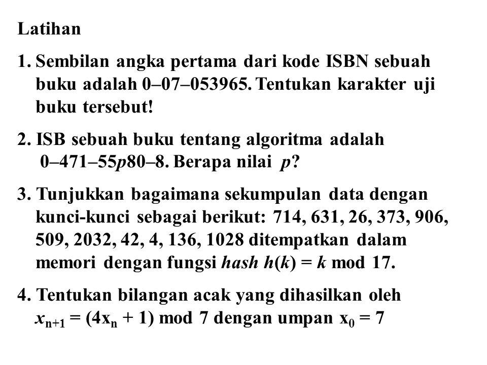Latihan Sembilan angka pertama dari kode ISBN sebuah. buku adalah 0–07–053965. Tentukan karakter uji.