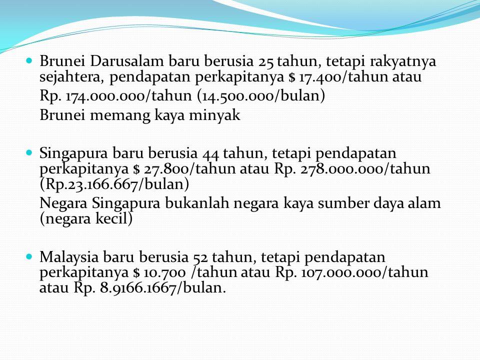 Brunei Darusalam baru berusia 25 tahun, tetapi rakyatnya sejahtera, pendapatan perkapitanya $ 17.400/tahun atau