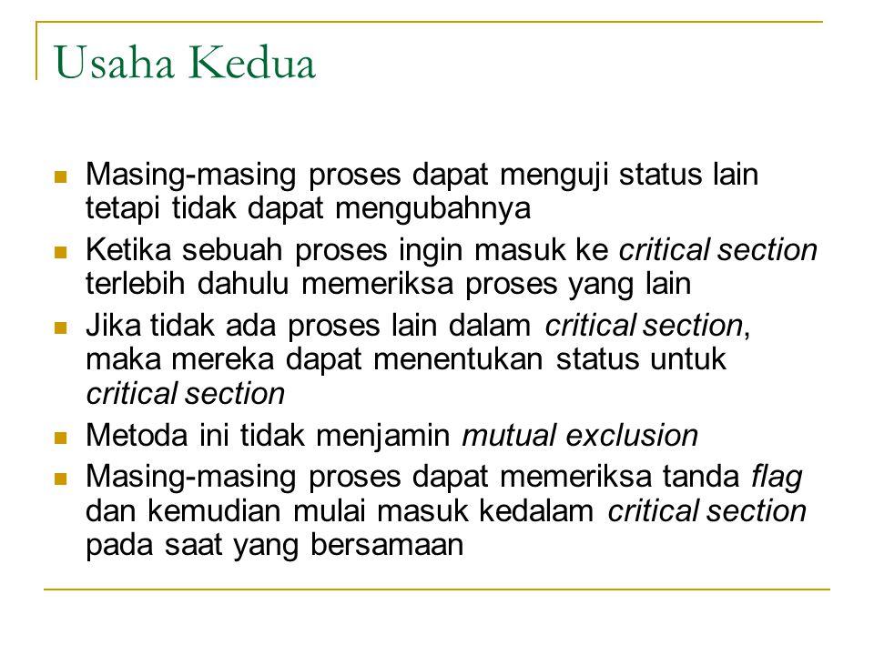 Usaha Kedua Masing-masing proses dapat menguji status lain tetapi tidak dapat mengubahnya.