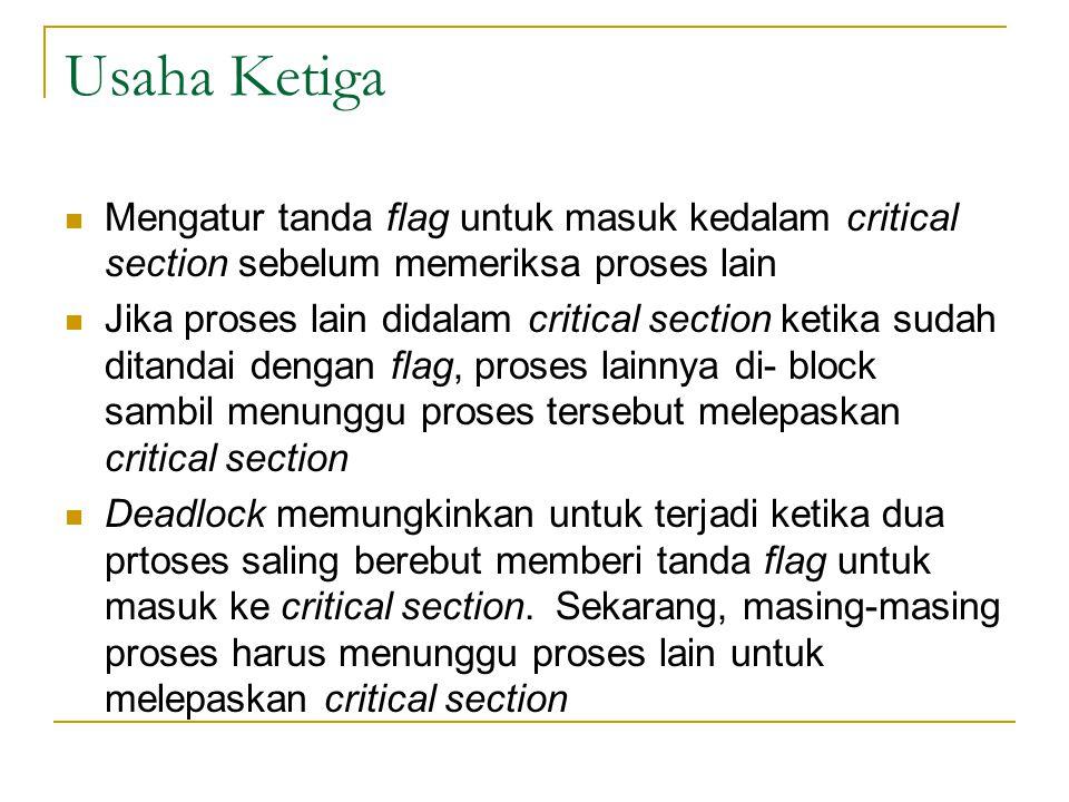Usaha Ketiga Mengatur tanda flag untuk masuk kedalam critical section sebelum memeriksa proses lain.