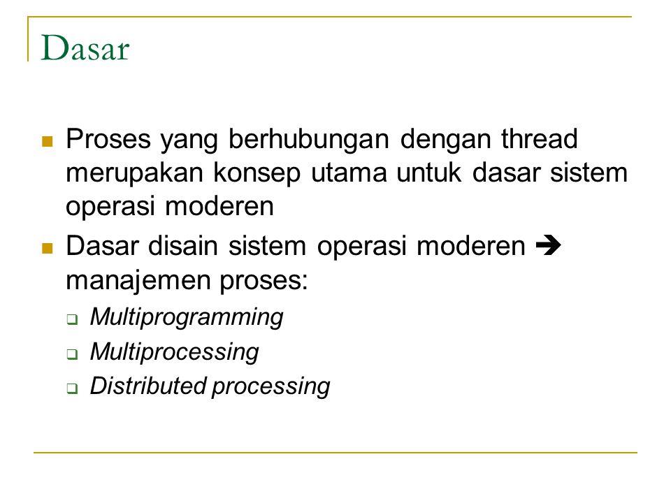 Dasar Proses yang berhubungan dengan thread merupakan konsep utama untuk dasar sistem operasi moderen.