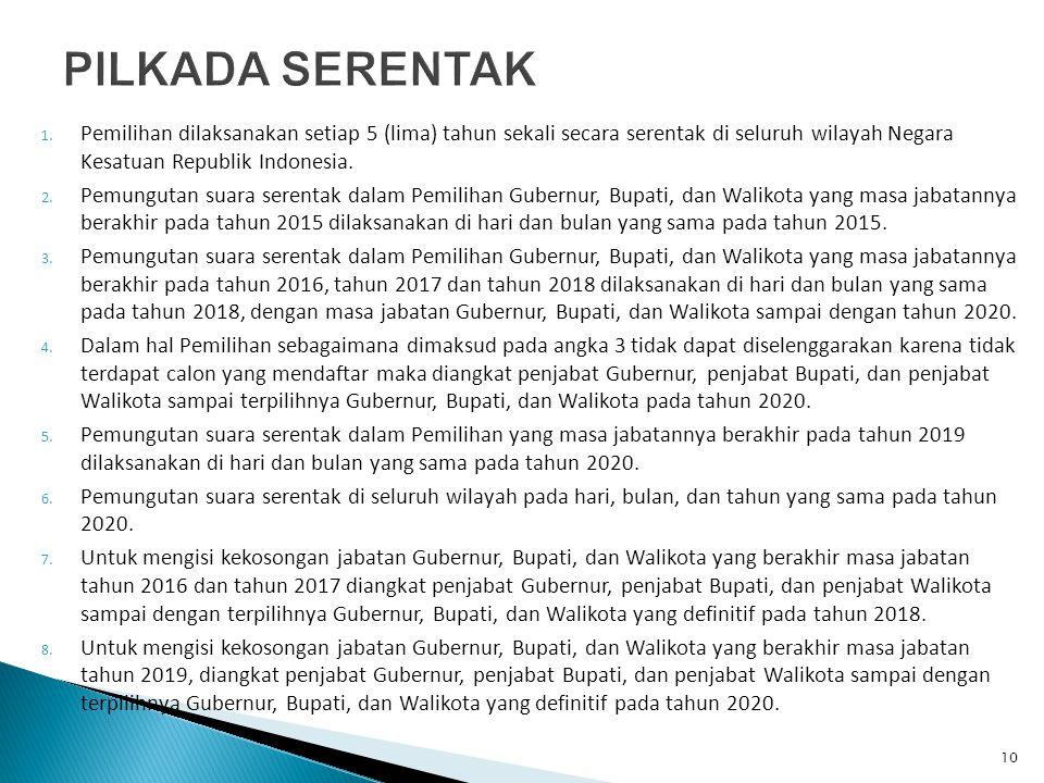 PILKADA SERENTAK Pemilihan dilaksanakan setiap 5 (lima) tahun sekali secara serentak di seluruh wilayah Negara Kesatuan Republik Indonesia.