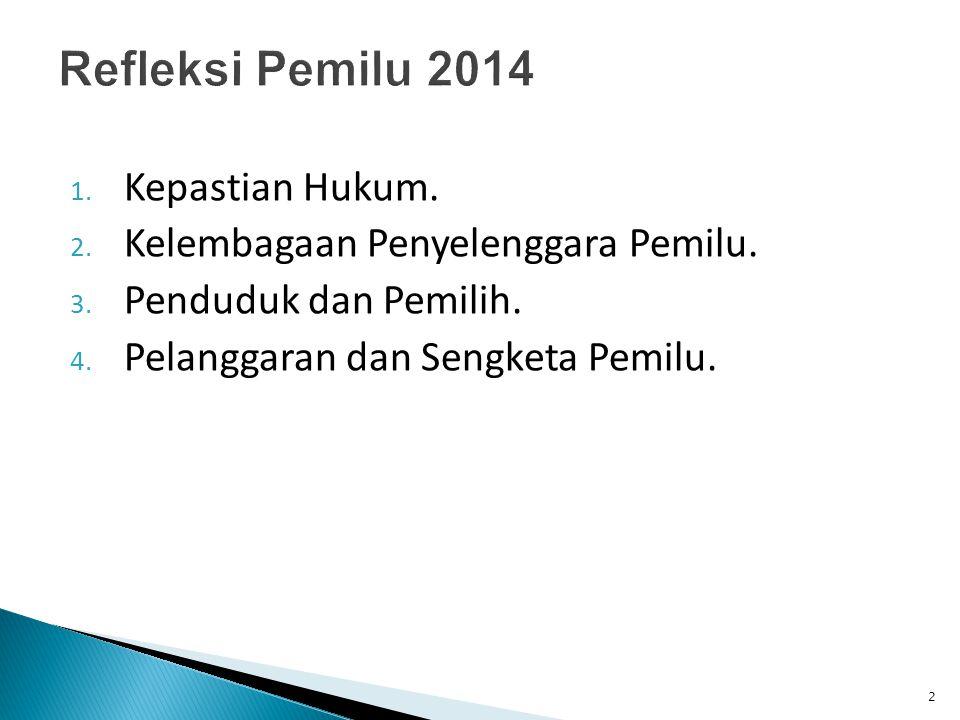 Refleksi Pemilu 2014 Kepastian Hukum.