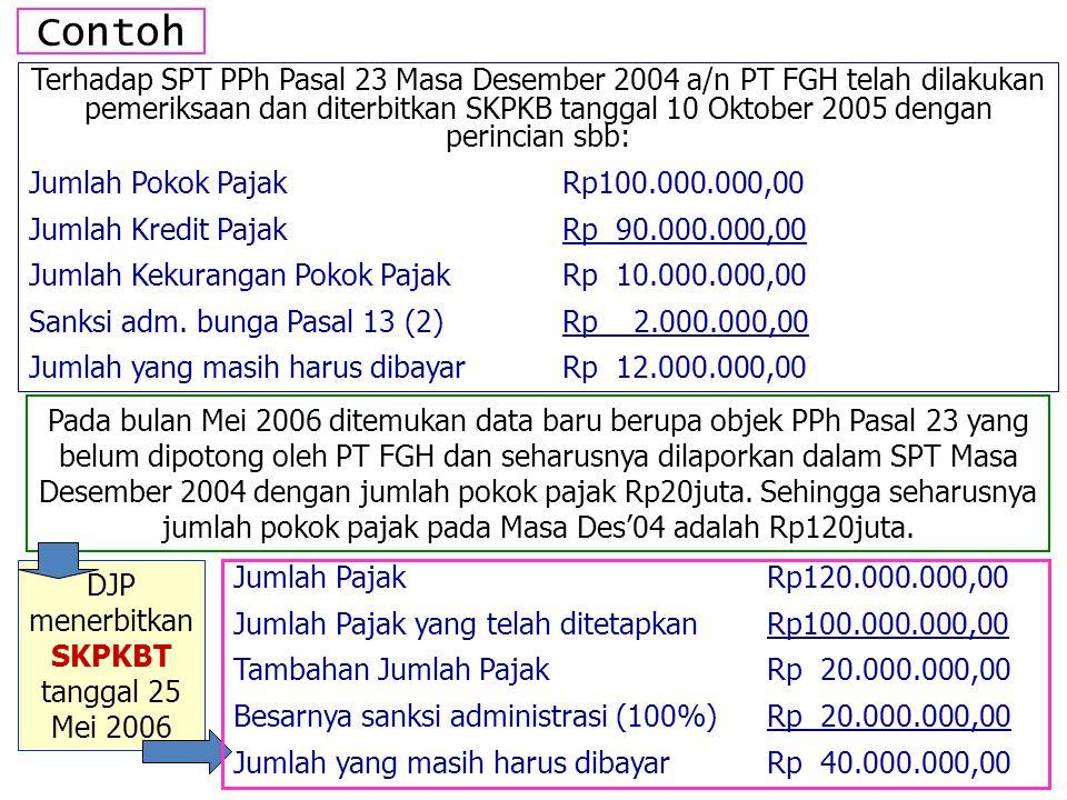 DJP menerbitkan SKPKBT tanggal 25 Mei 2006