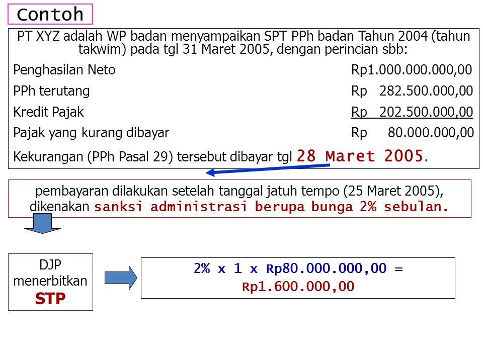 Contoh PT XYZ adalah WP badan menyampaikan SPT PPh badan Tahun 2004 (tahun takwim) pada tgl 31 Maret 2005, dengan perincian sbb: