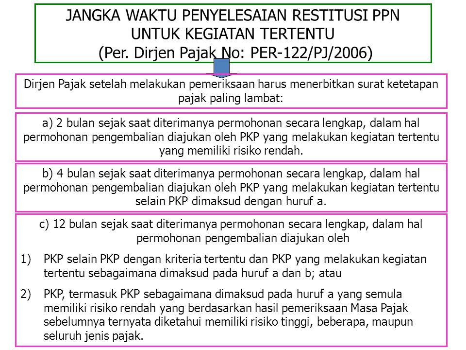 JANGKA WAKTU PENYELESAIAN RESTITUSI PPN UNTUK KEGIATAN TERTENTU (Per
