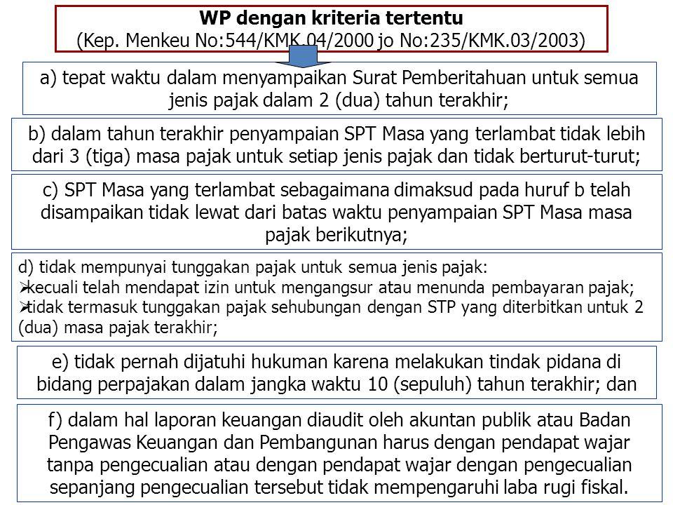 WP dengan kriteria tertentu (Kep. Menkeu No:544/KMK