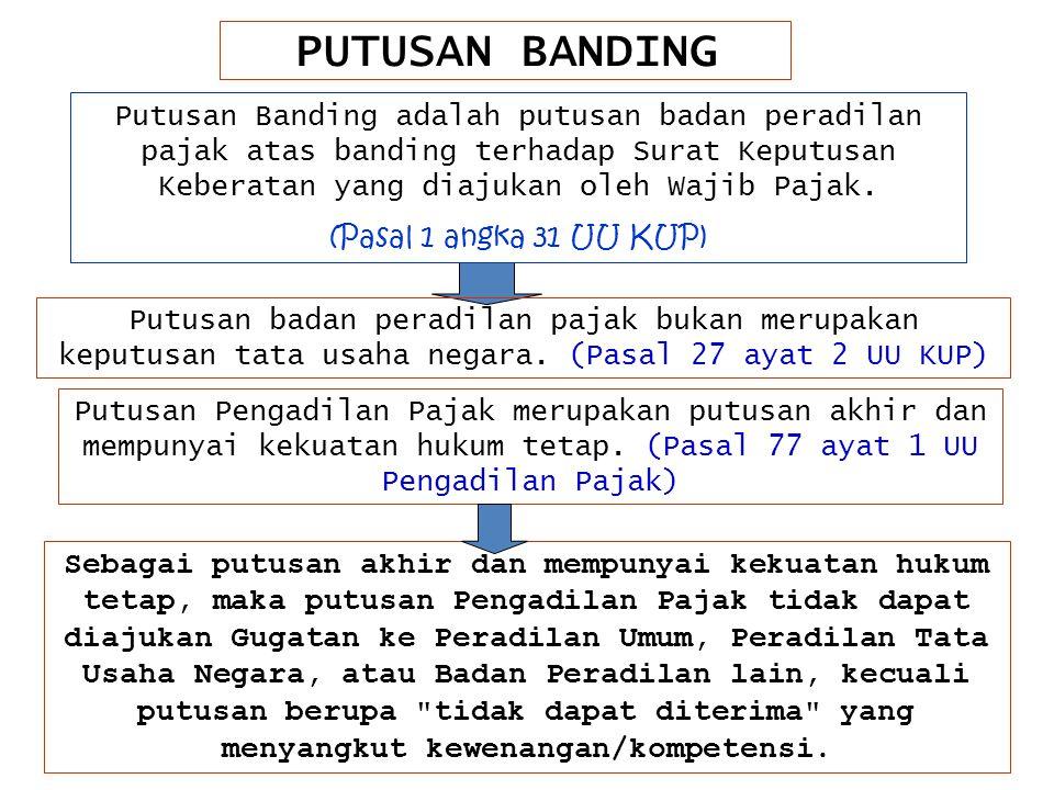 PUTUSAN BANDING Putusan Banding adalah putusan badan peradilan pajak atas banding terhadap Surat Keputusan Keberatan yang diajukan oleh Wajib Pajak.