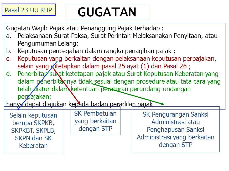 Pasal 23 UU KUP GUGATAN. Gugatan Wajib Pajak atau Penanggung Pajak terhadap :