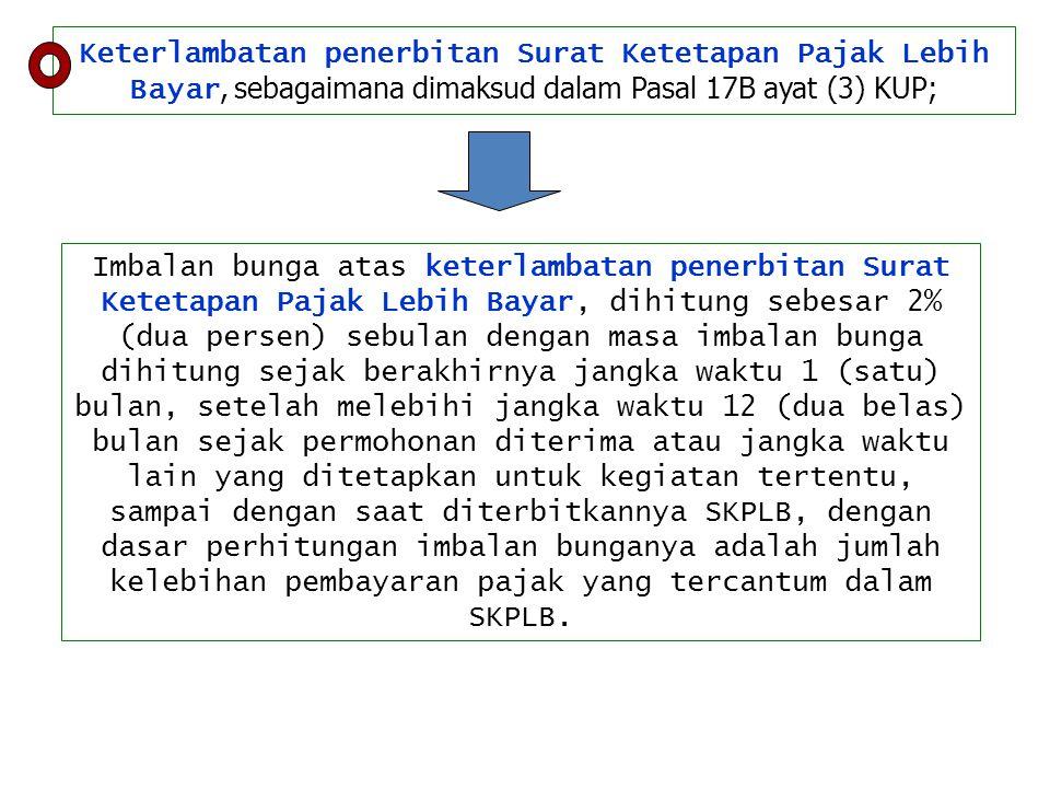 Keterlambatan penerbitan Surat Ketetapan Pajak Lebih Bayar, sebagaimana dimaksud dalam Pasal 17B ayat (3) KUP;