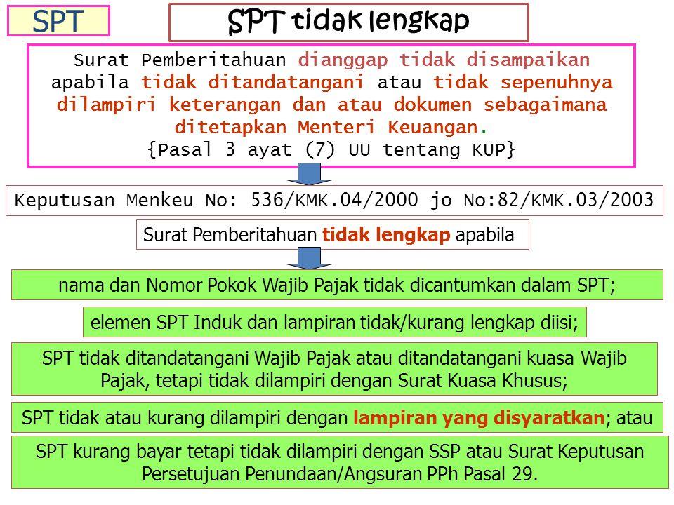 SPT SPT tidak lengkap.
