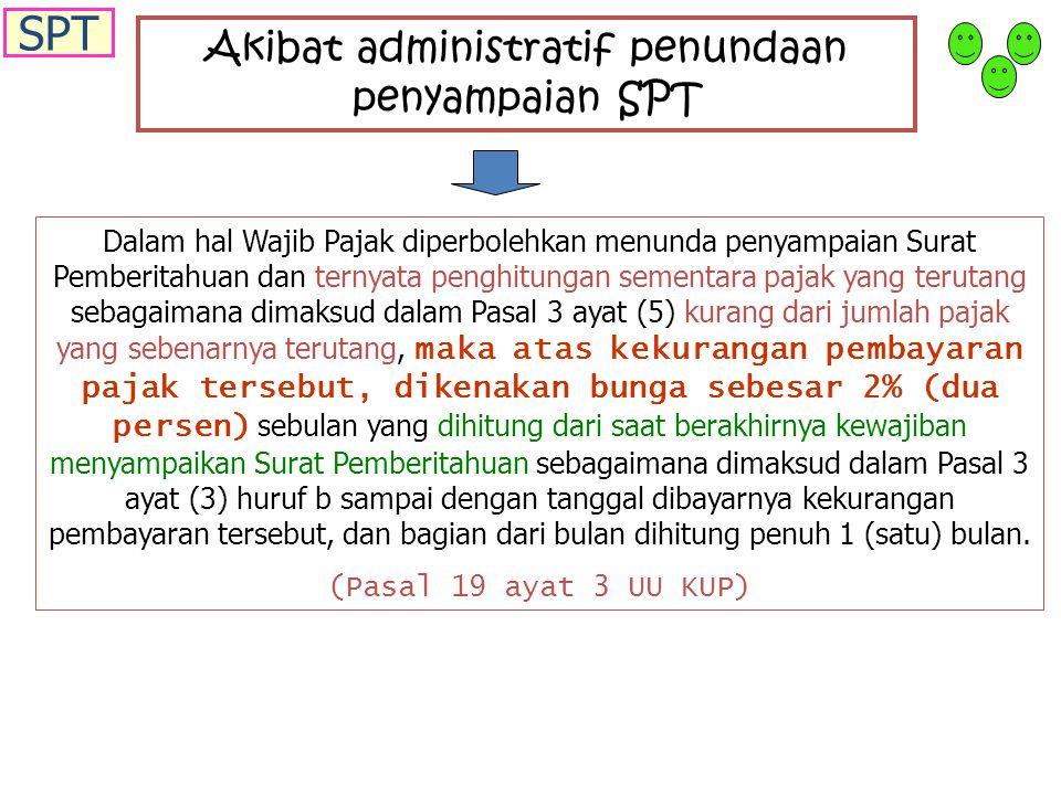 Akibat administratif penundaan penyampaian SPT