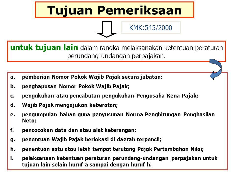Tujuan Pemeriksaan KMK:545/2000. untuk tujuan lain dalam rangka melaksanakan ketentuan peraturan perundang-undangan perpajakan.