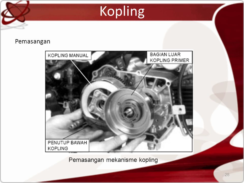 Pemasangan mekanisme kopling