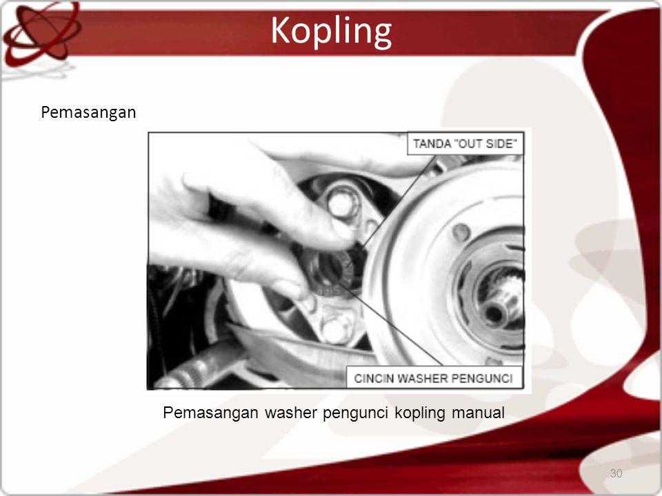 Pemasangan washer pengunci kopling manual