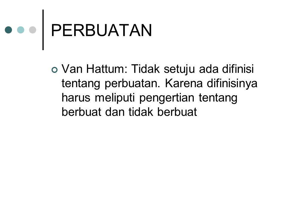 PERBUATAN Van Hattum: Tidak setuju ada difinisi tentang perbuatan.