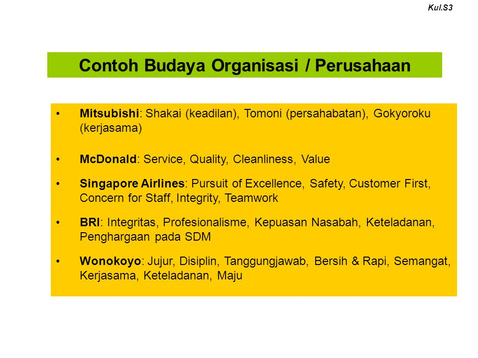 Contoh Budaya Organisasi / Perusahaan