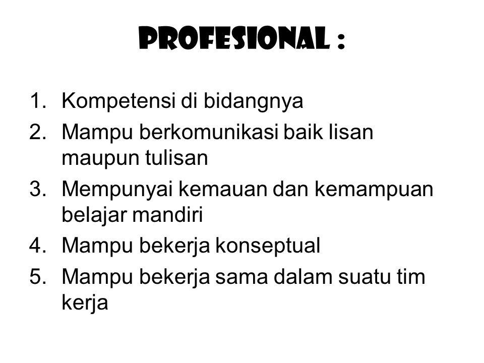 Profesional : Kompetensi di bidangnya