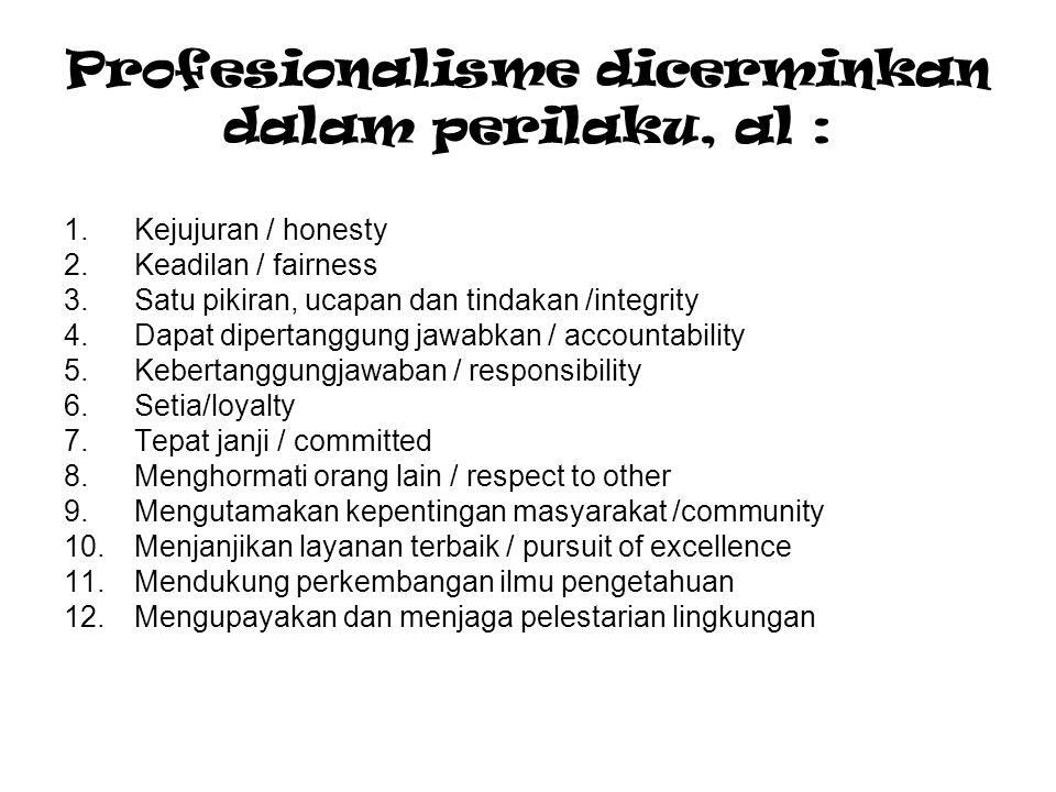 Profesionalisme dicerminkan dalam perilaku, al :