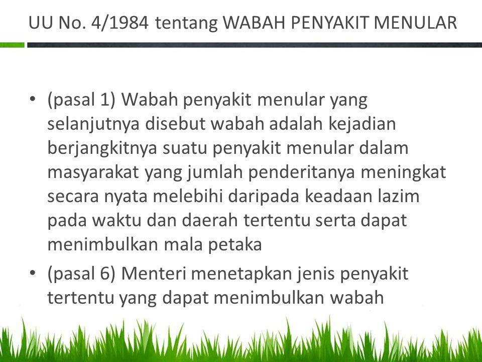 UU No. 4/1984 tentang WABAH PENYAKIT MENULAR