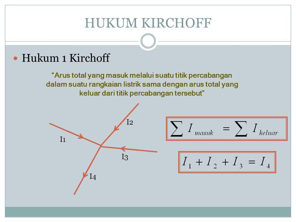 HUKUM KIRCHOFF Hukum 1 Kirchoff